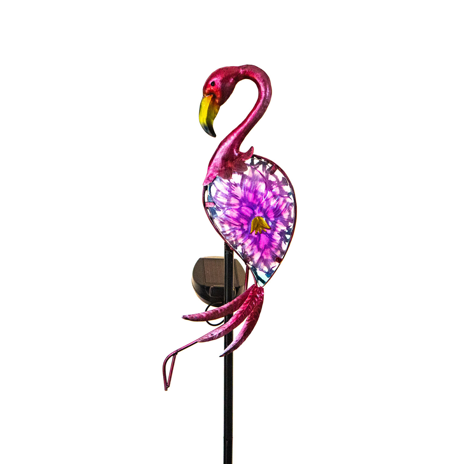 Elegant Solar Bird Garden Stake Lavender Flamingo